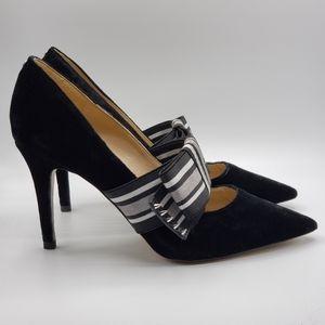 Sam Edelman Maeve Black Velvet Heels Size 7 w/ Bow